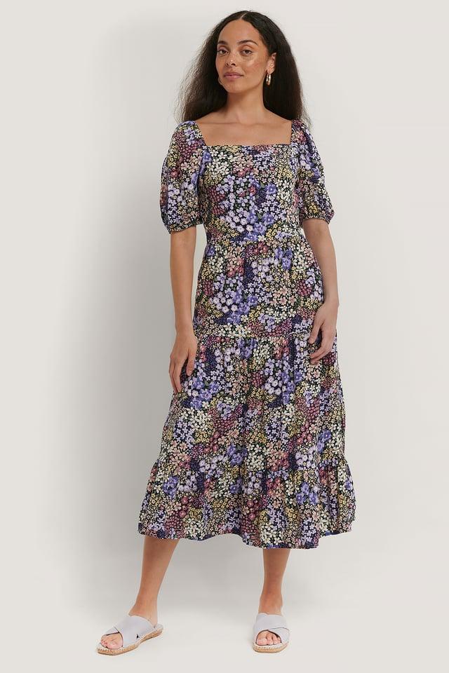 Multicolor Floral Pattern Midi Dress