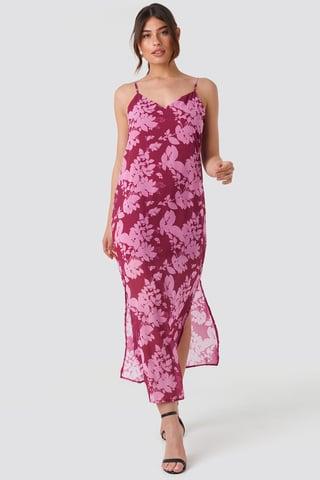 Purple Wos Flower Patterned Dress