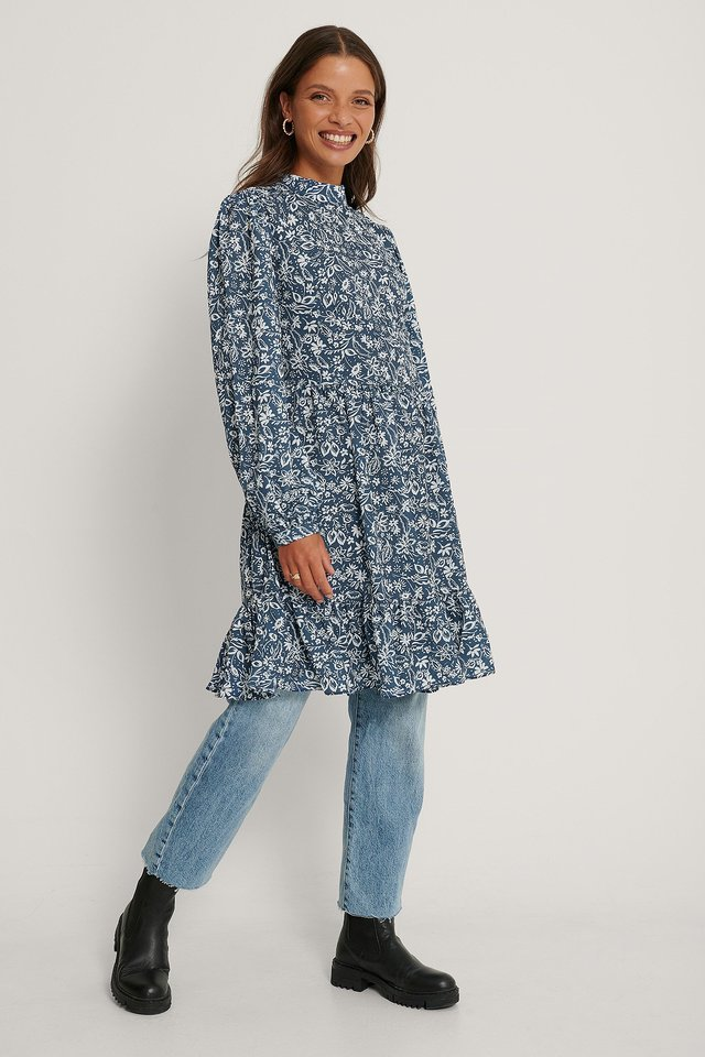 Kleid Mit Blumenmuster Blue