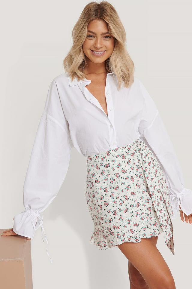 Flower Patterned Poplin Skirt Multicolor