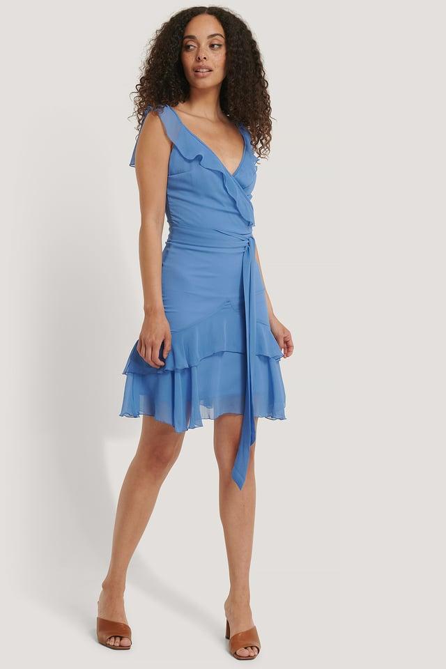 Blue Flywheel Wraped Mini Dress