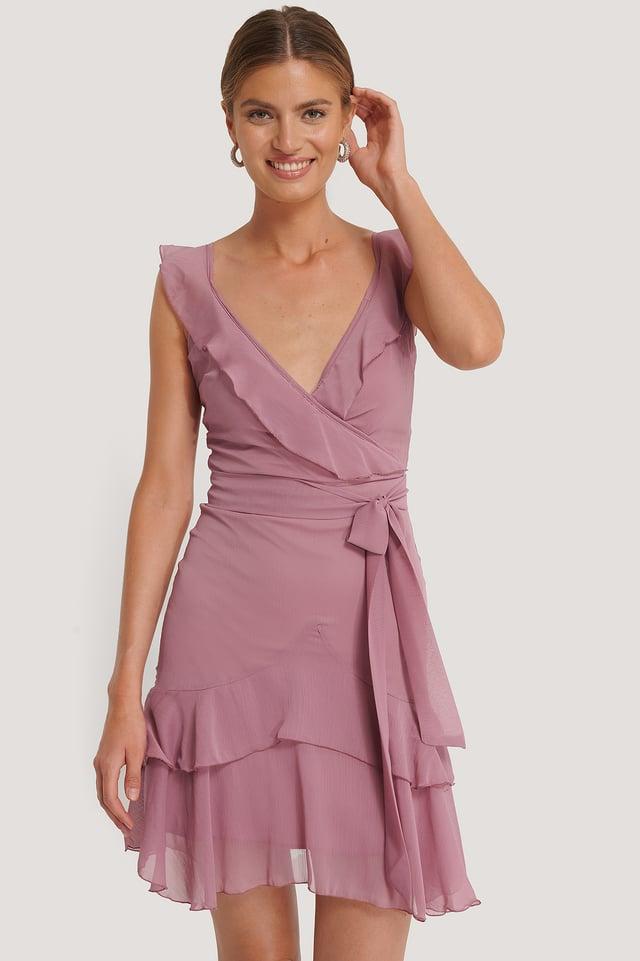 Dusty Rose Flywheel Wraped Mini Dress