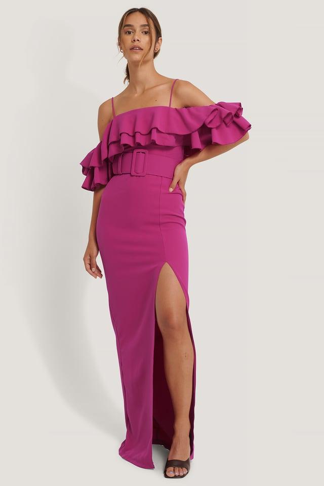 Frill Detailed Evening Dress Fuchsia