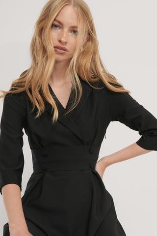 Black Minikjole Med Knapdetalje