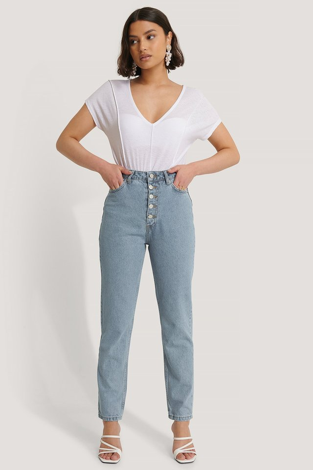 Front Button High Waist Jeans Blue