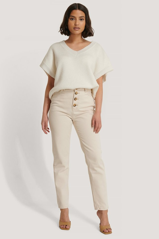 Front Button Mom Jeans Cream