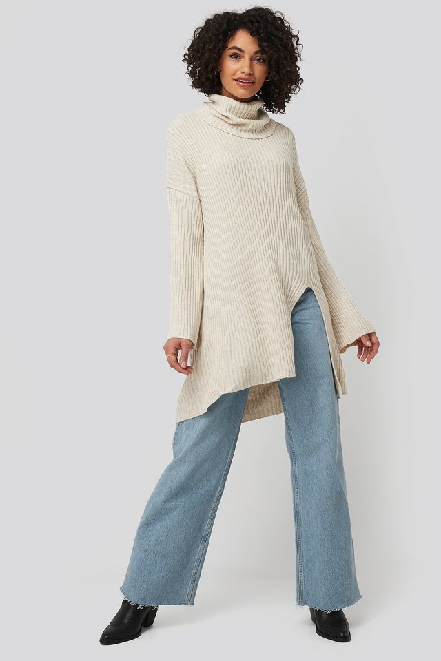 Front Slit Turtleneck Knitted Tunic Beige