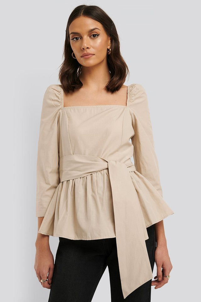 Stone Front Tied 3/4 Sleeve Blouse