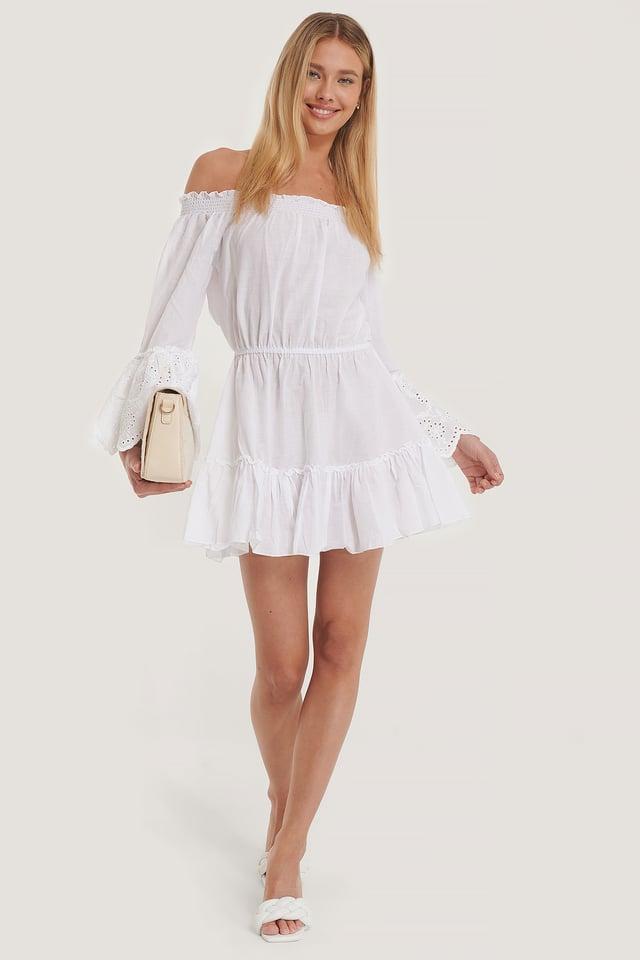Guipure Detailed Voile Beach Dress White