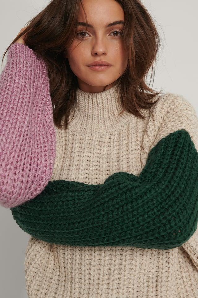 High Collar Block Sweater Stone