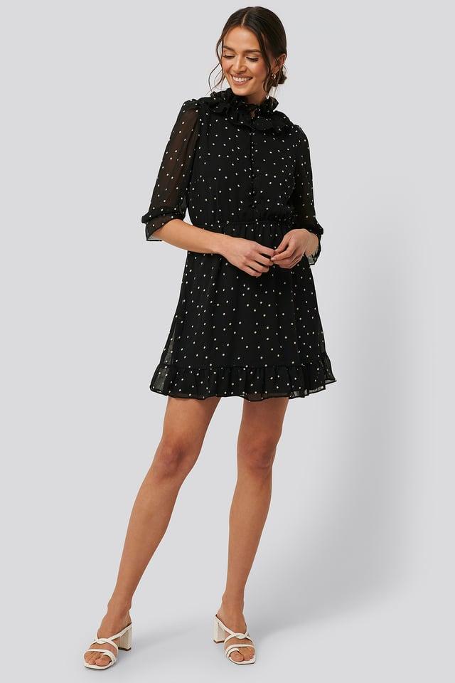High Neck Polka Dot Mini Dress Black