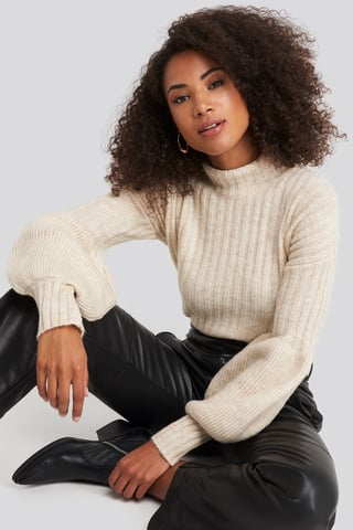 Beige High Neck Puff Sleeve Knitted Sweater