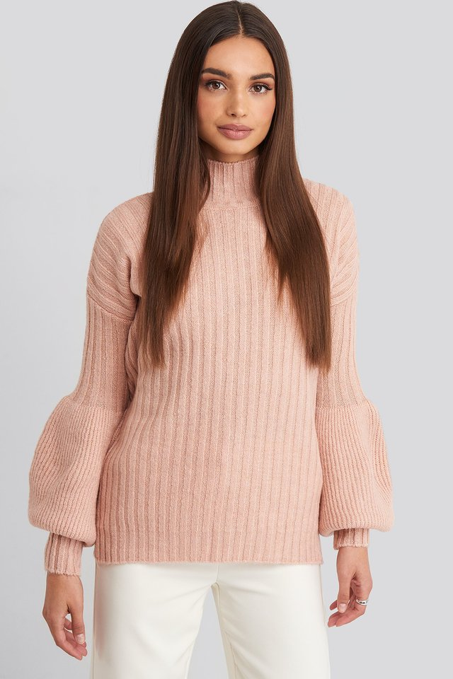 Dusty Rose High Neck Puff Sleeve Knitted Sweater