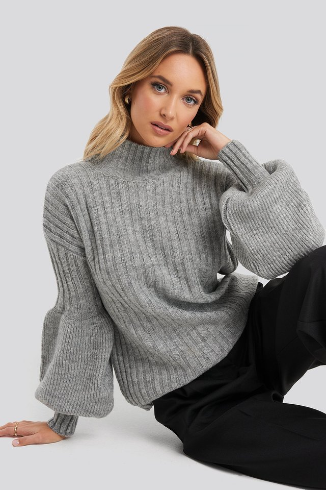 Gray High Neck Puff Sleeve Knitted Sweater