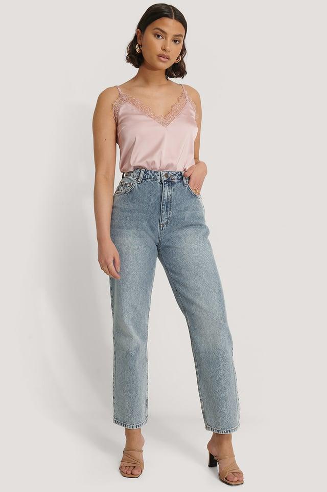 High Waist Boyfriend Jeans Blue