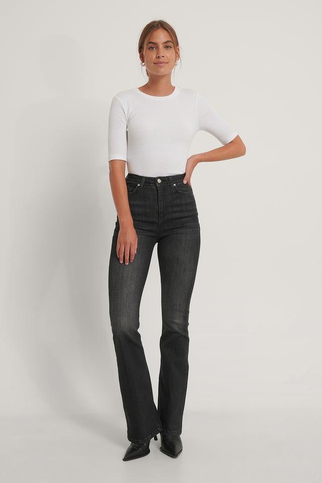 Utsvängda Jeans Med Hög Midja Black