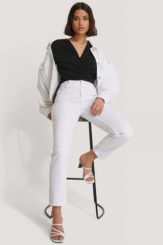 White Mom Jeans Mit Hoher Taille