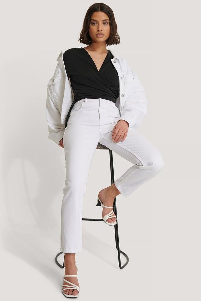 White High Waist Mom Jeans