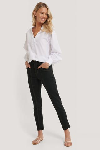 Black Mom Jeans Mit Hoher Taille