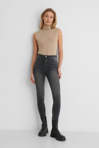 Antracite Skinny Jeans Met Hoge Taille