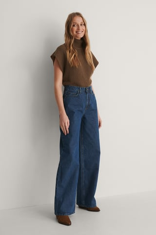 Indigo High Waist Wide Jeans