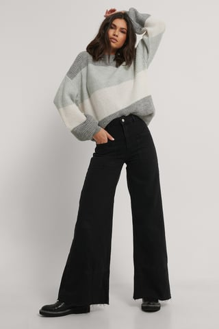 Black High Waisted Wide Jeans