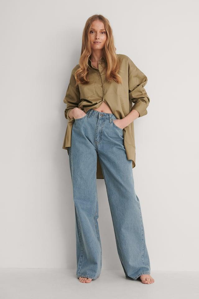 Blue High Waist Wide Jeans
