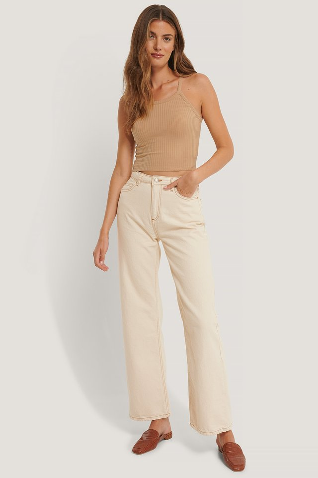High Waist Wide Leg Jeans Ecru