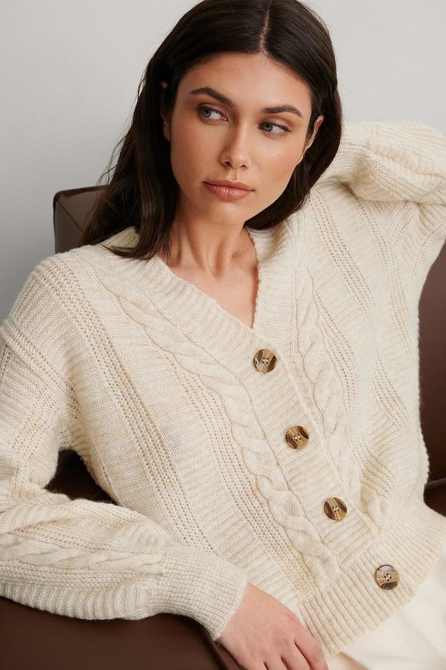 Beige Knit Detail Cardigan