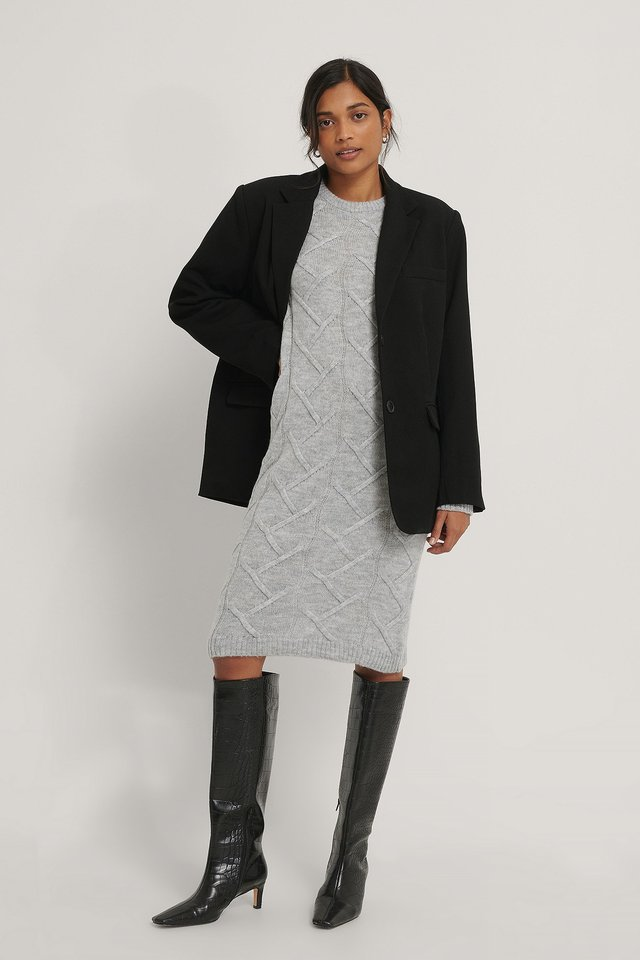 Knit Detailed Dress Gray