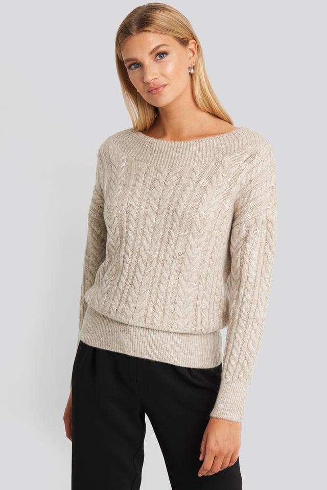 Knit Detail Sweater Beige