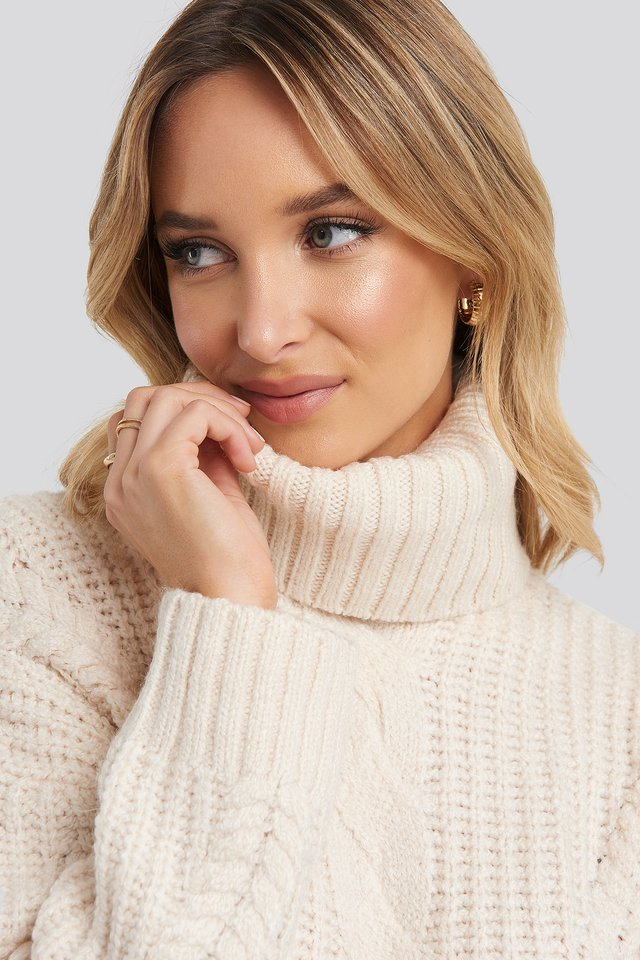Knit Detail Turtleneck Sweater Ecru