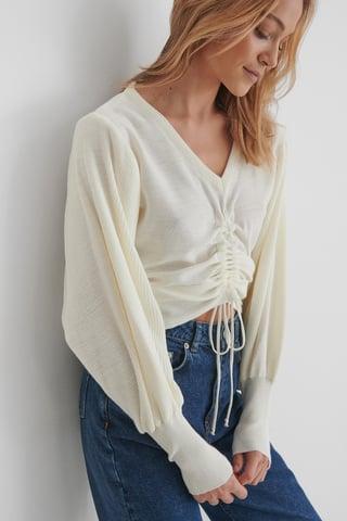 Ecru Knit Drawstring Detail Sweater