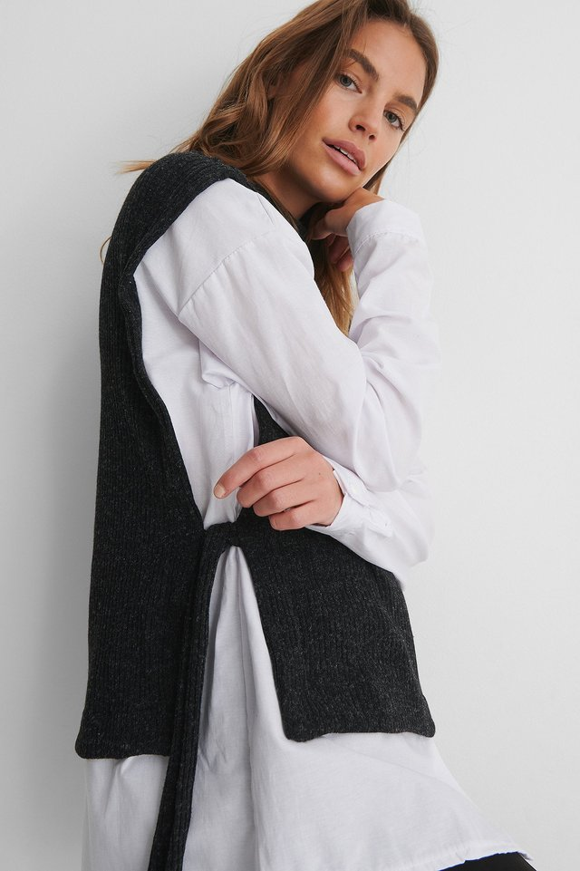 Antracite Knit Open Sweater