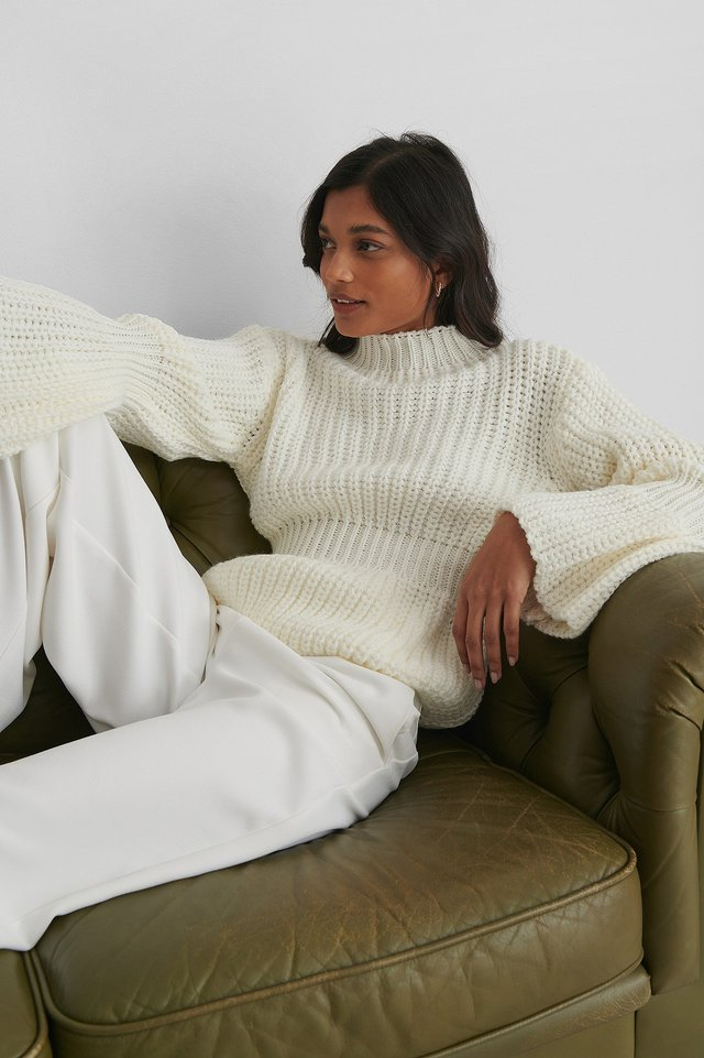 Knit Sleeve Detail Sweater Ecru