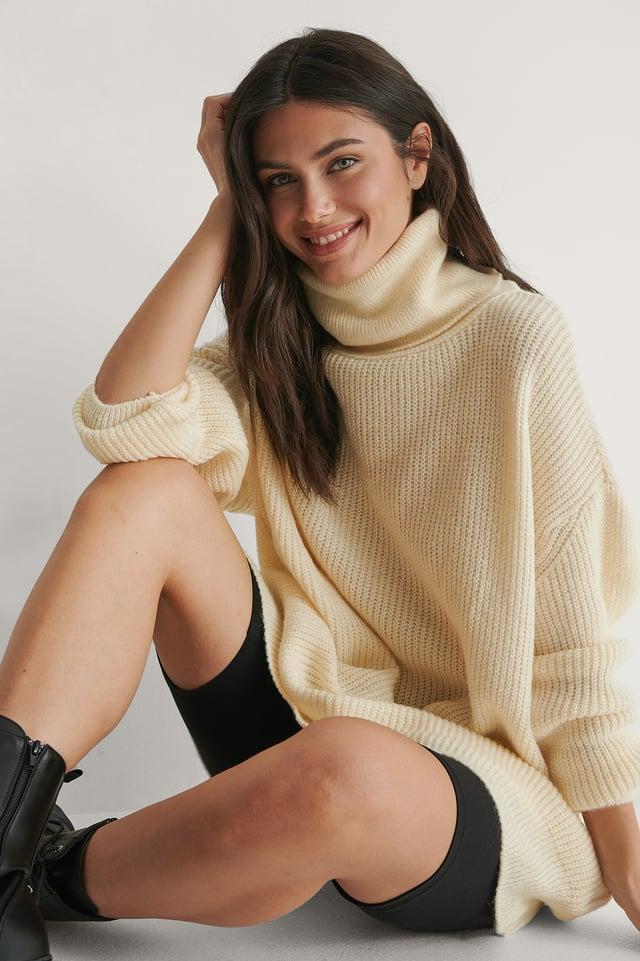 Ecru Knit Sweater Dress
