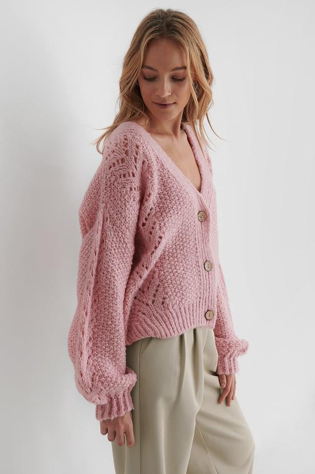 Knitted Cardigan Powder Pink