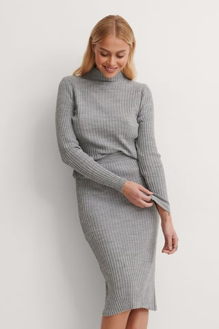 Gray Knitted Top Bottom Set
