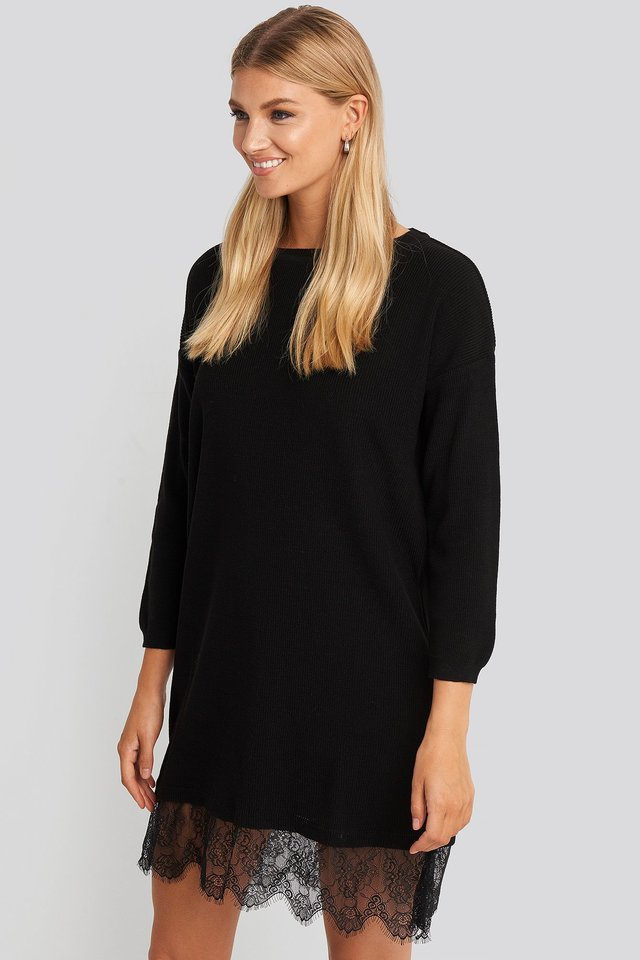 Lace Detailed Sweater Dress Black