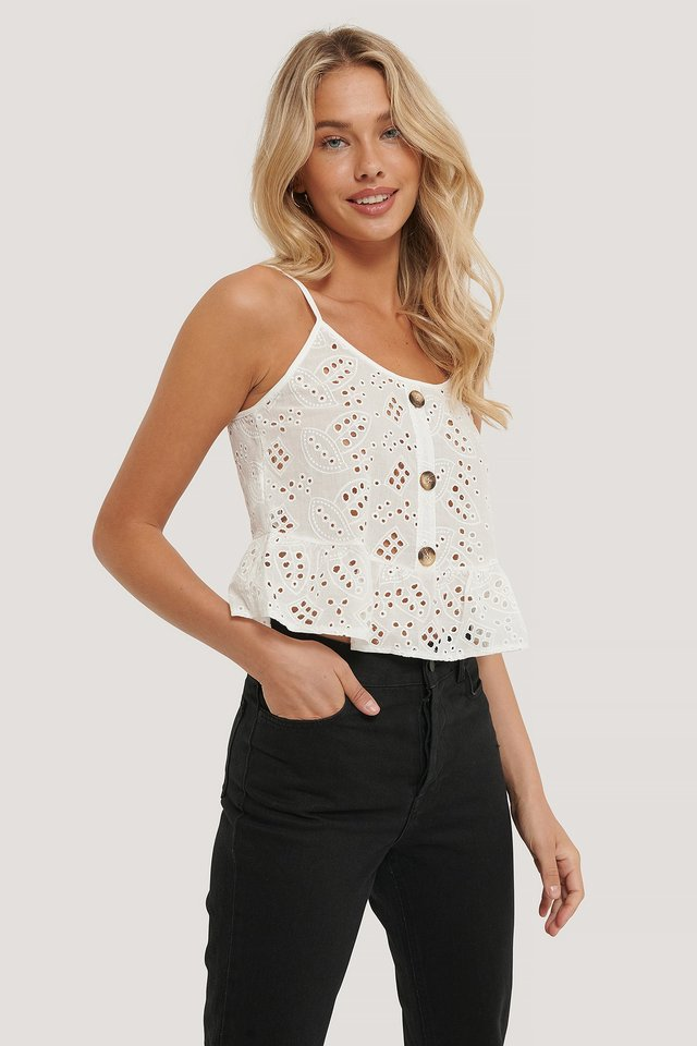 Lace Detailed Top White