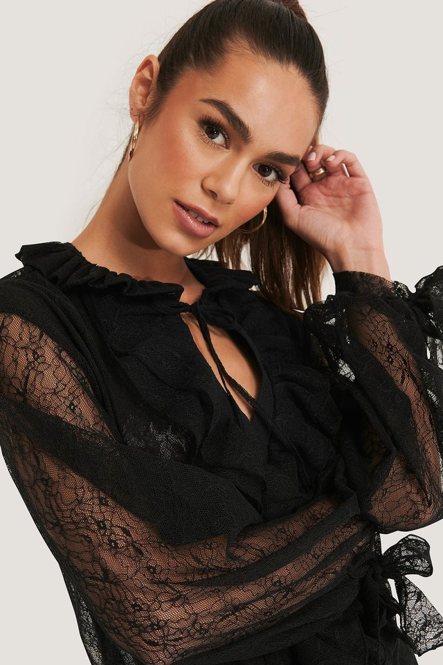 Lace Sleeve Blouse Black
