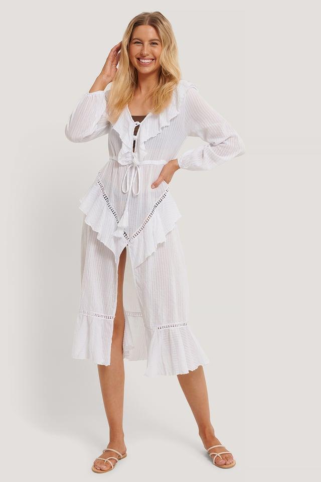 Strandklänning I Broderad Voile White