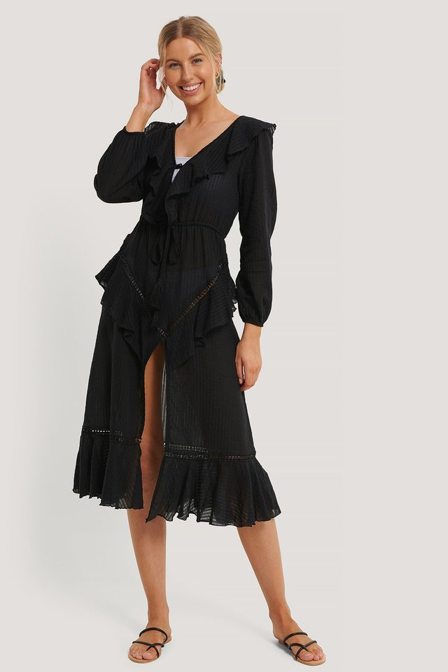 Black Lacing Detail Voile Beach Dress
