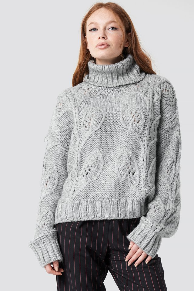 Leaf Knitted Sweater Gray