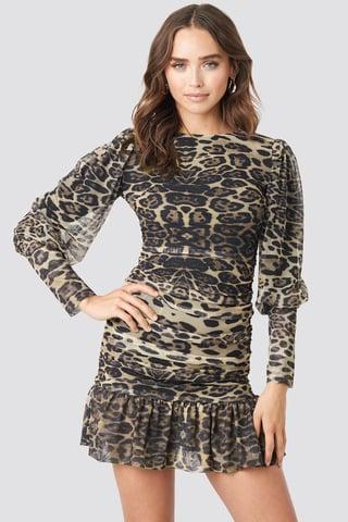 Multicolor Leopard Drape Detailed Dress