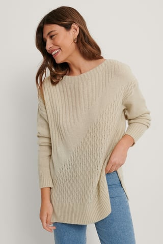 Stone Long Detailed Knit Sweater
