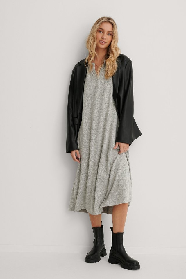 Long Knit Dress Gray