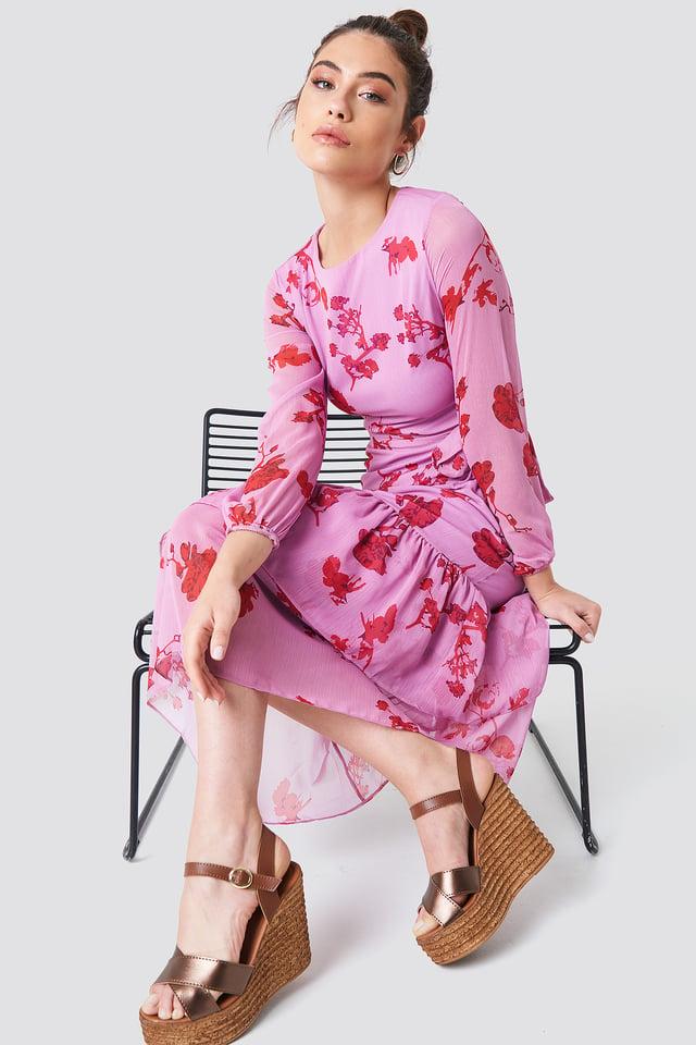 Lila Long Sleeve Printed Ruffle Dress