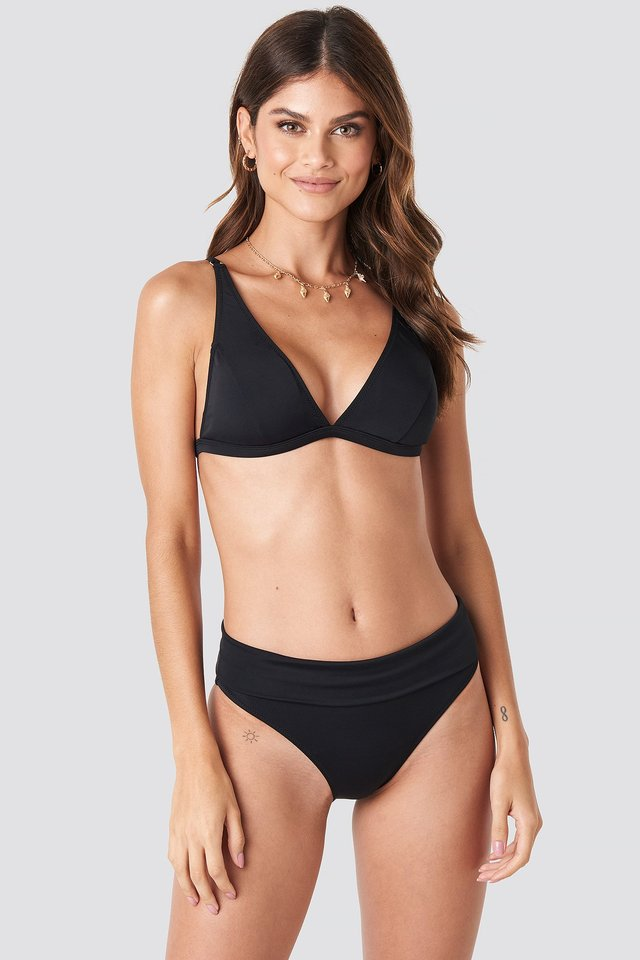 Long Triangle Bikini Bottom Black