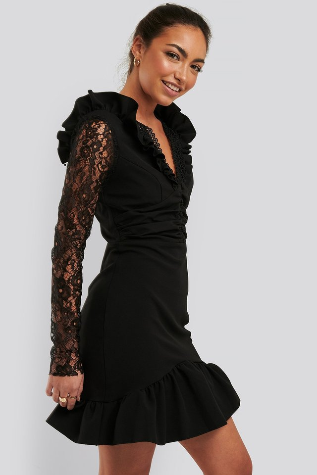 LS Lace Mini Dress Black